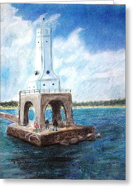 Chicago Pastels Greeting Cards - Sailing Past the Lighthouse Greeting Card by Terry Jenkins