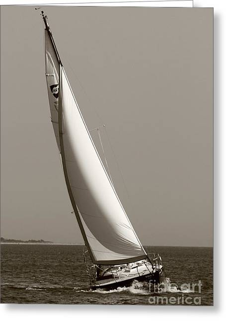 Sailboat Greeting Cards - Sailing Sailboat Sloop Beating to Windward Greeting Card by Dustin K Ryan