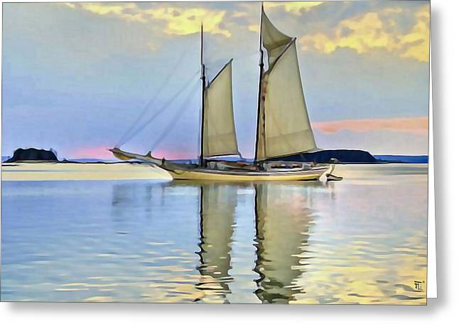 Sea Scape Greeting Cards - Sailing Sailin Away yay yay yay Greeting Card by  Fli Art