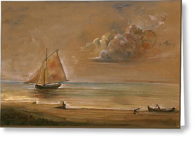 Sailing Ship At Sunset Greeting Card by Juan  Bosco
