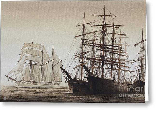 Maritime Framed Print Greeting Cards - Sailing Ships Greeting Card by James Williamson