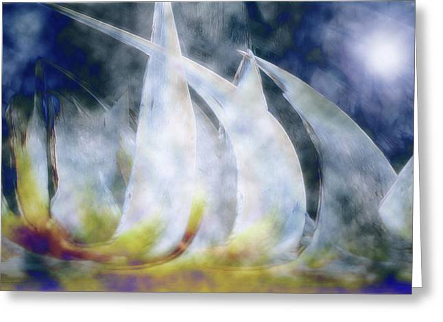 Sailing Ship Greeting Cards - Sailing Ships Greeting Card by Linda Sannuti