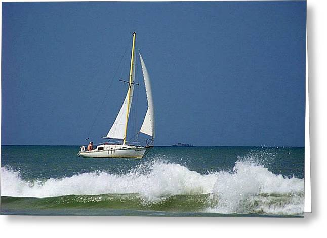 Sailboat Ocean Greeting Cards - Sailing Smyrna Style Greeting Card by Pattie Frost