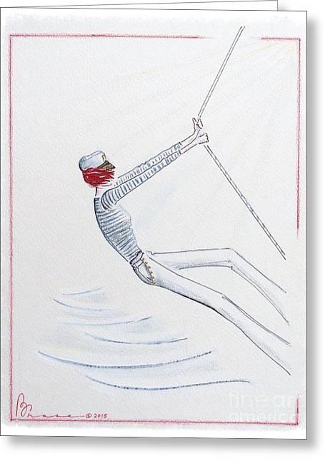 Blue Sailboats Greeting Cards - Sailing Solo Greeting Card by Barbara Chase