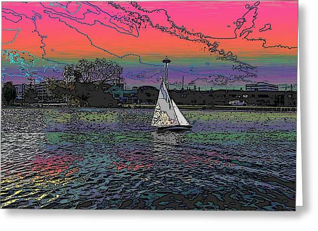 Lake Union Greeting Cards - Sailing South Lake Union Greeting Card by Tim Allen