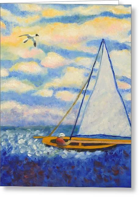 Yellow Sailboats Greeting Cards - Sailing Takes Me Away Greeting Card by Marla McPherson