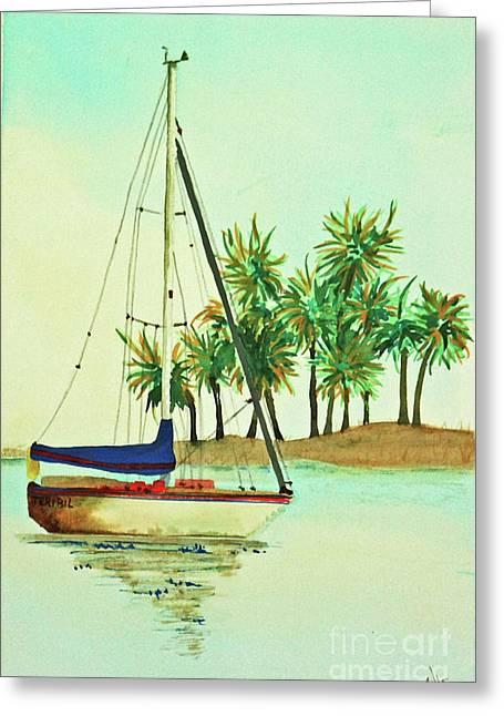 Terri Waters Paintings Greeting Cards - Sailing Greeting Card by Terri Mills