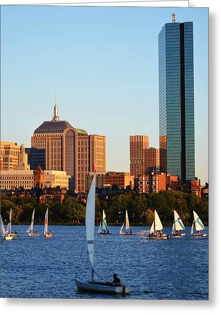 Boston Ma Greeting Cards - Sailing the Charles River Boston MA Greeting Card by Toby McGuire