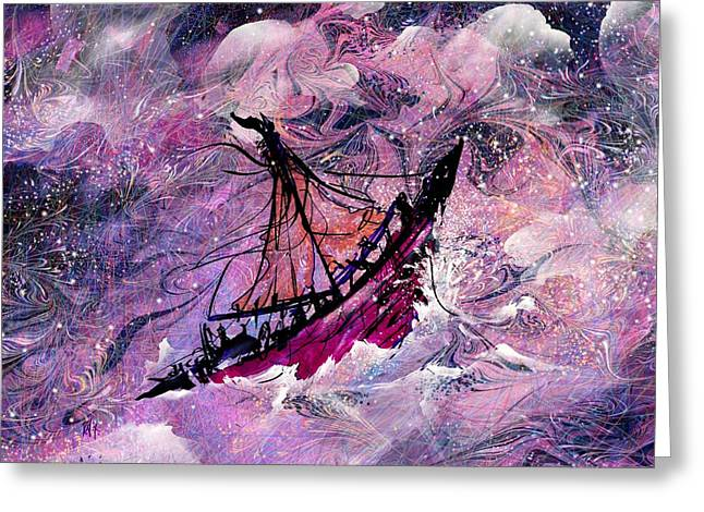 Ocean Sailing Greeting Cards - Sailing the Heavens Greeting Card by Rachel Christine Nowicki