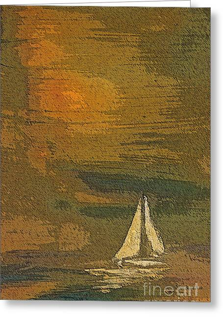 Boats On Water Greeting Cards - Sailing the Julianna Greeting Card by Julie Lueders