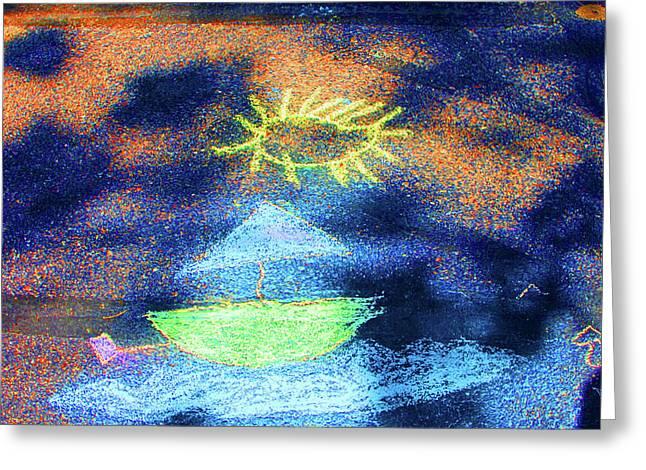 Sailboat Art Greeting Cards - Sailing the Sidewark Seas Greeting Card by Edward Congdon