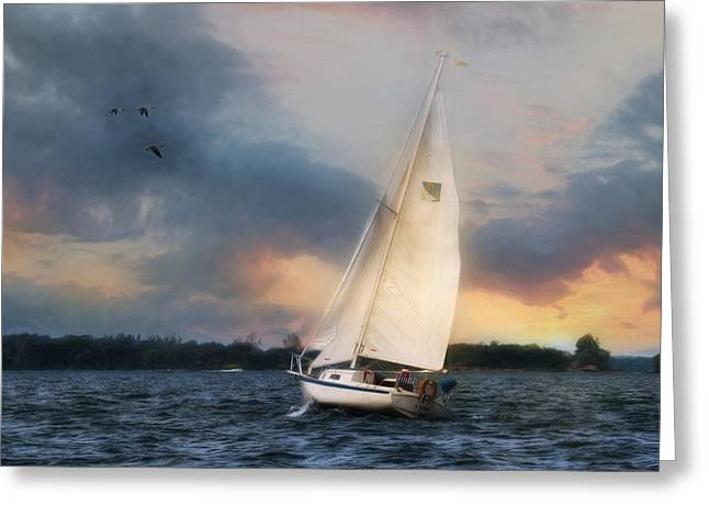 Sailing The St. Lawrence Greeting Card by Lori Deiter