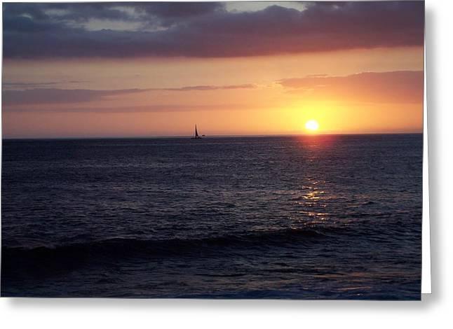 Recently Sold -  - Yellow Sailboats Greeting Cards - Sailing the Sunset Greeting Card by Roberta Rotunda