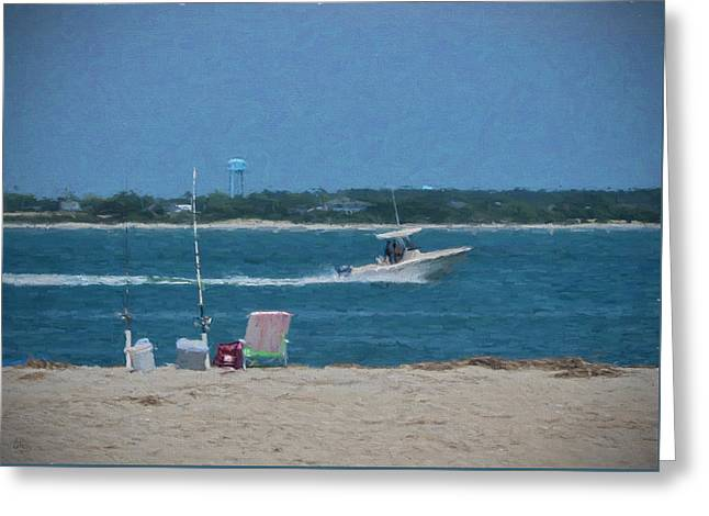 Water Vessels Mixed Media Greeting Cards - Boating Through Bogue Inlet Greeting Card by Sandi OReilly
