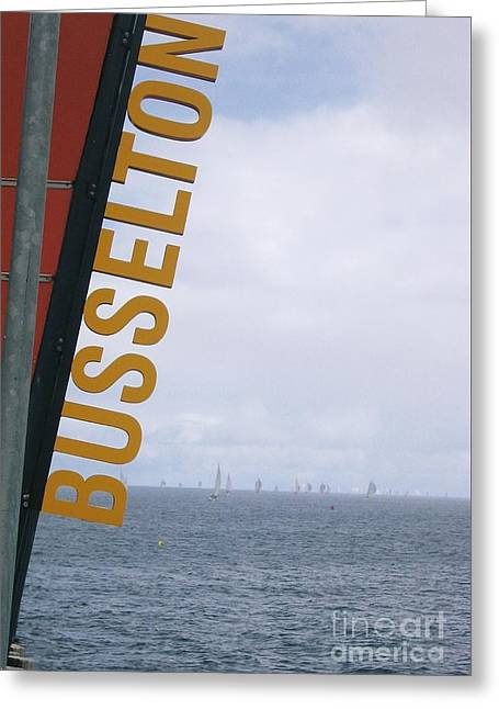 Masts Greeting Cards - Sailing by Busselton Jetty Greeting Card by Jackie Tweddle