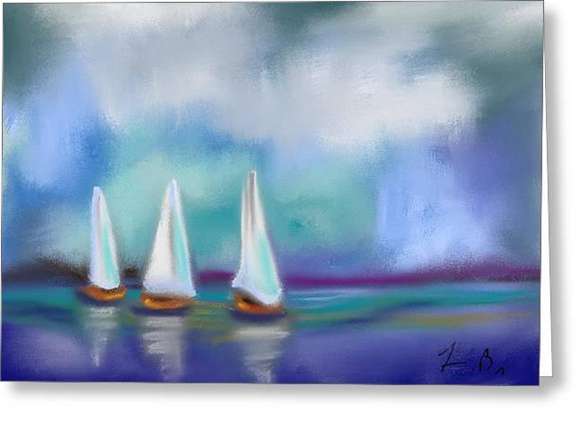 Frank Ocean Art Greeting Cards - Sailing Through Greeting Card by Frank Bright