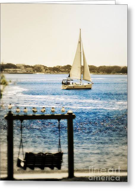 Enhanced Greeting Cards - Sailing Through Southport Greeting Card by Kelly Nowak