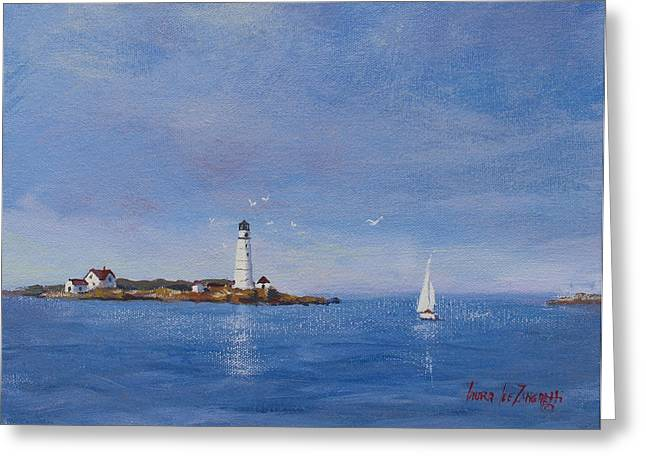 Boston Light Greeting Cards - Sailing to Boston Light Greeting Card by Laura Lee Zanghetti