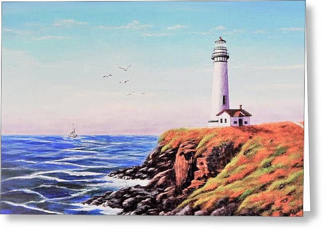 Flying Seagull Greeting Cards - Sailing to Lighthouse Greeting Card by Christopher Bashista