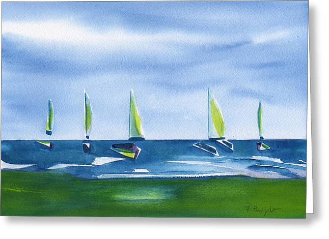 Frank Ocean Art Greeting Cards - Sailing To Shore Greeting Card by Frank Bright