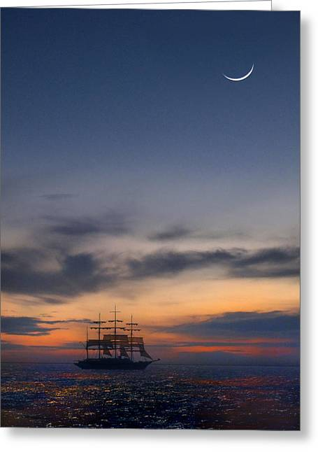 Schooner Digital Greeting Cards - Sailing to the Moon Greeting Card by Mike McGlothlen