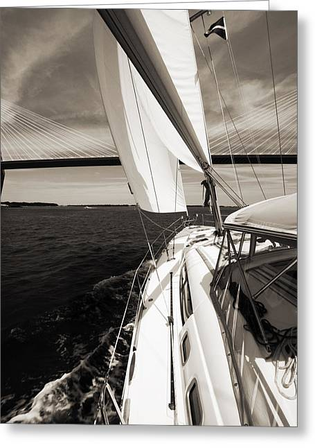 Charleston South Carolina Greeting Cards - Sailing Under the Arthur Ravenel Jr. Bridge in Charleston SC Greeting Card by Dustin K Ryan