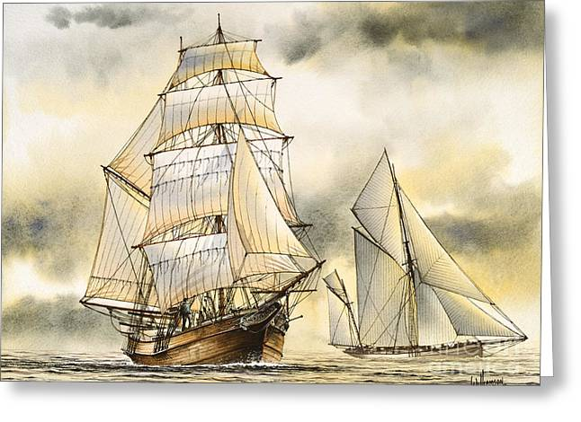Tall Ship Canvas Greeting Cards - Sailing Vessel ROMANCE Greeting Card by James Williamson