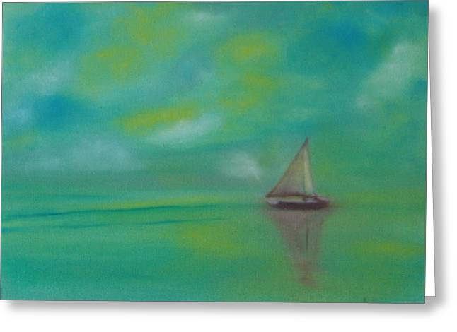 Yellow Sailboats Greeting Cards - Sailing With You Greeting Card by Fiona Dinali