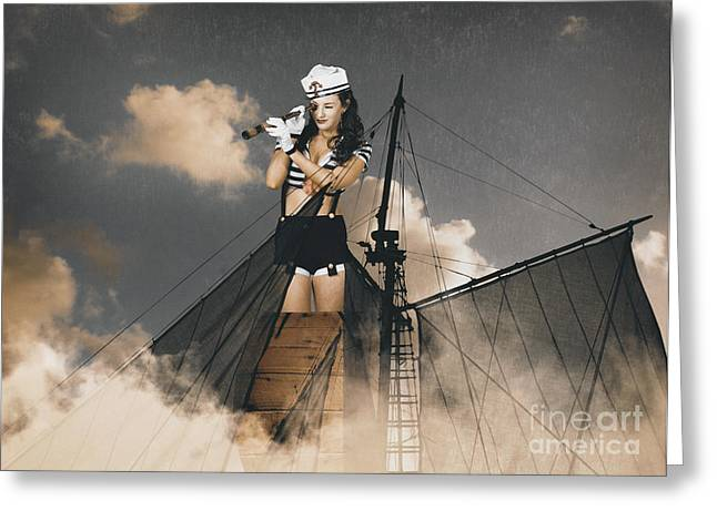 Wooden Ship Greeting Cards - Sailor pinup girl on lookout from ships crows-nest Greeting Card by Ryan Jorgensen