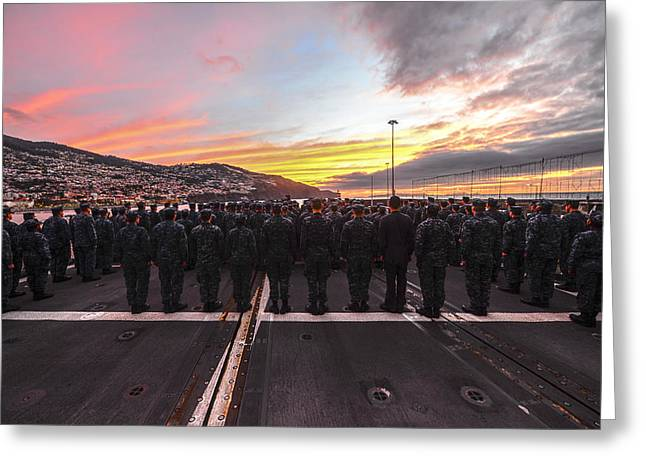 Navy Greeting Cards - Sailors aboard the guided-missile cruiser USS Monterey Greeting Card by Celestial Images