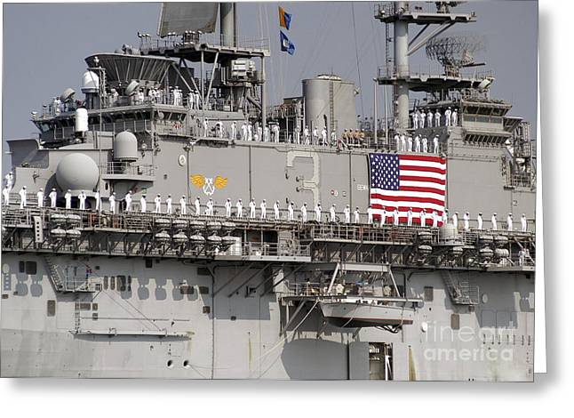Homecoming Greeting Cards - Sailors Aboard Uss Kearsarge Man Greeting Card by Stocktrek Images