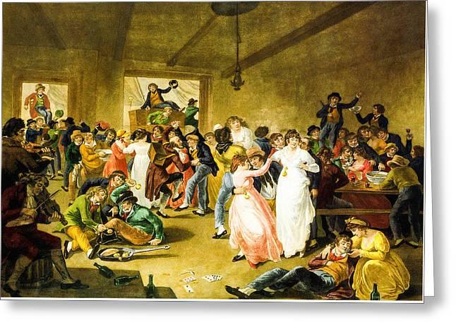 Schooner Greeting Cards - Sailors Carousing 1807 Greeting Card by  J C Ibbetson