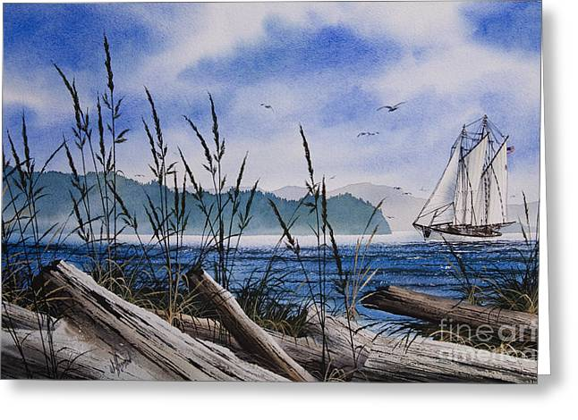 Tall Ship Canvas Greeting Cards - Sailors Dream Greeting Card by James Williamson
