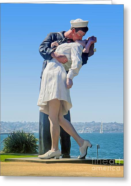 Sailors Kiss Greeting Card by Gregory Dyer