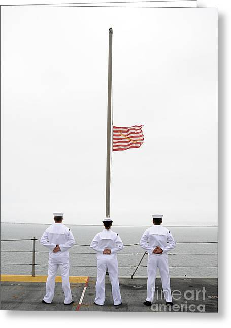 Sailors Pay Tribute Aboard Uss Essex Greeting Card by Stocktrek Images