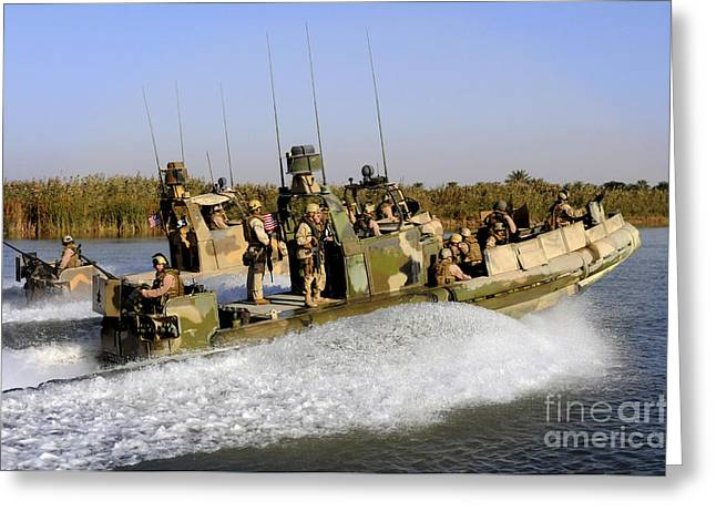 Iraq Photographs Greeting Cards - Sailors Racing Along The Euphrates Greeting Card by Stocktrek Images