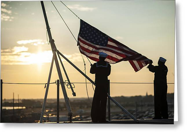 Antenna Paintings Greeting Cards - Sailors raise the ensign US Navy Greeting Card by Celestial Images