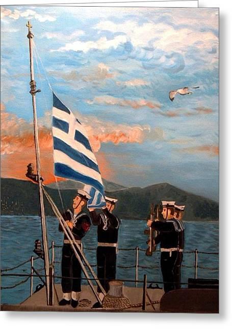 Kostas Koutsoukanidis Greeting Cards - Sailors raising the flag Greeting Card by Kostas Koutsoukanidis