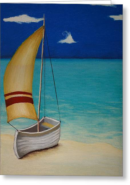 Ocean Sailing Pastels Greeting Cards - Sailors Solitude Greeting Card by Amanda Clark