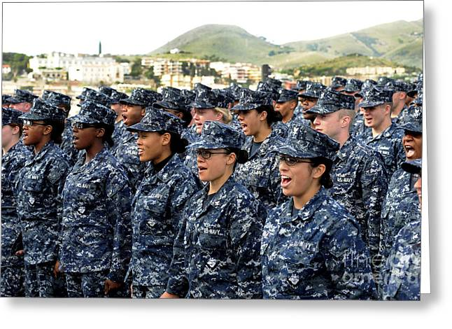 Combat Uniforms Greeting Cards - Sailors Yell Before An All-hands Call Greeting Card by Stocktrek Images