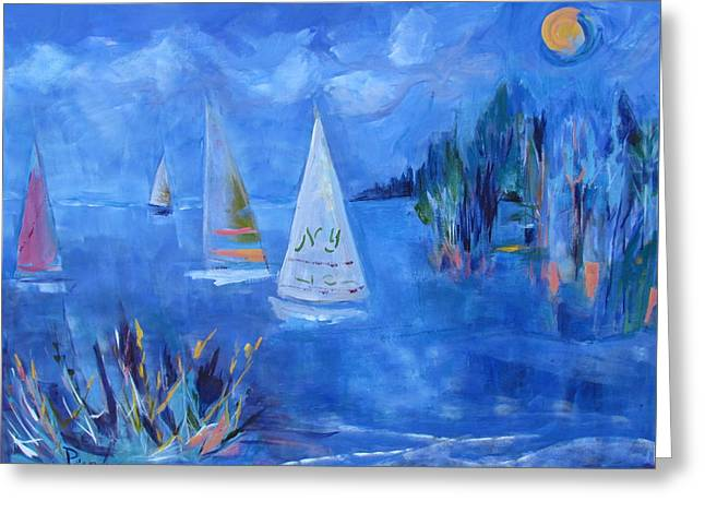 Boats In Water Greeting Cards - Sails and Sun Greeting Card by Betty Pieper