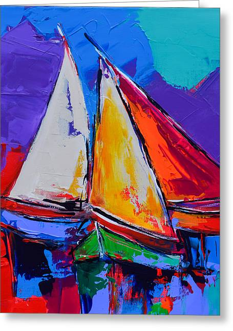 Sails Colors Greeting Card by Elise Palmigiani