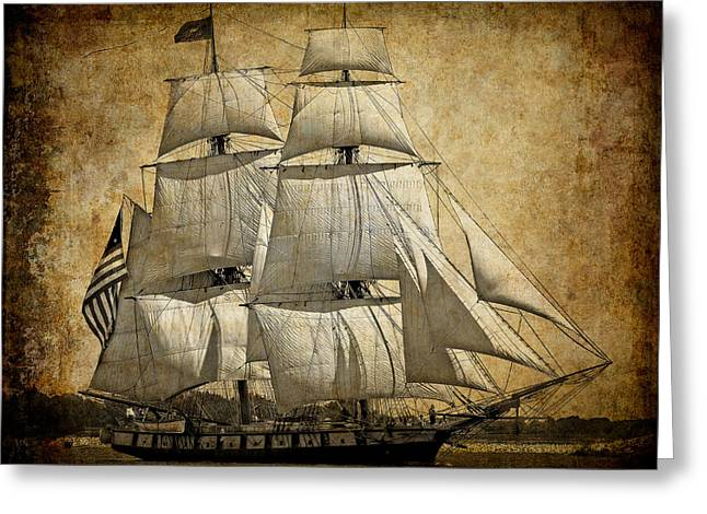 Water Vessels Mixed Media Greeting Cards - SAILS FULL and BY Greeting Card by Daniel Hagerman