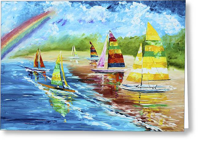 Sailboat Ocean Greeting Cards - Sails on the Beach Greeting Card by Kevin  Brown