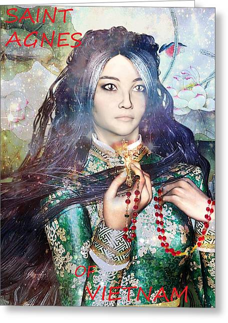 Rosary Greeting Cards - Saint Agnes Le Thi Thanh Greeting Card by Suzanne Silvir