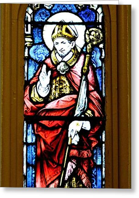 Charlotte Greeting Cards - Saint Alphonsus Stained Glass Greeting Card by Richard Jenkins