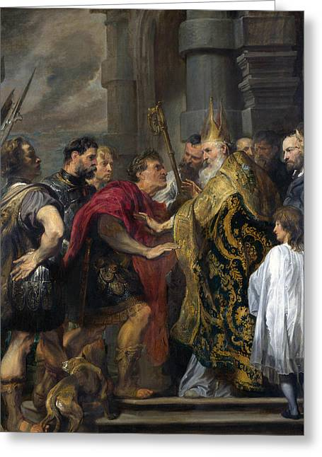 Saint Ambrose Barring Theodosius I From Milan Cathedral Greeting Card by Anthony van Dyck