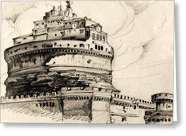 Historic Site Drawings Greeting Cards - Saint Angel castle Greeting Card by Odon Czintos