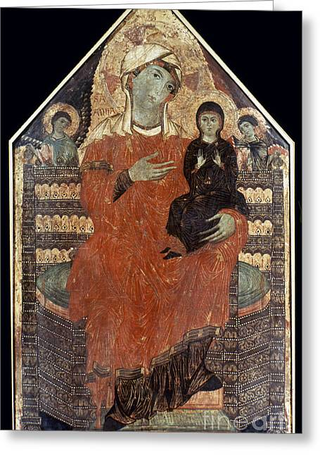 Ann Paintings Greeting Cards - Saint Anne Enthroned Greeting Card by Granger