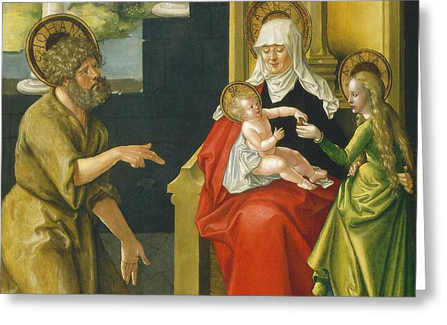Born Again Greeting Cards - Saint Anne With The Christ Child - The Virgin - And Saint John The Baptist Greeting Card by Hans Baldung Grien